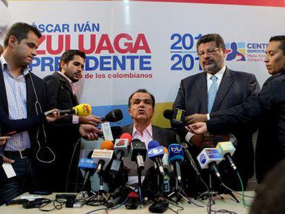 Zuluaga at a damage control press conference on Monday.