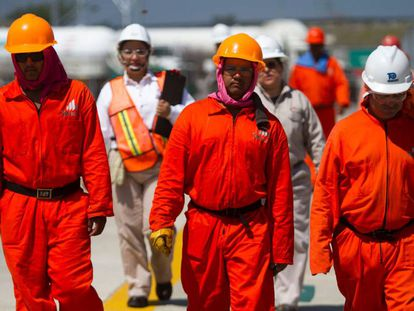 Pemex workers at Monterrey, in northern Mexico.