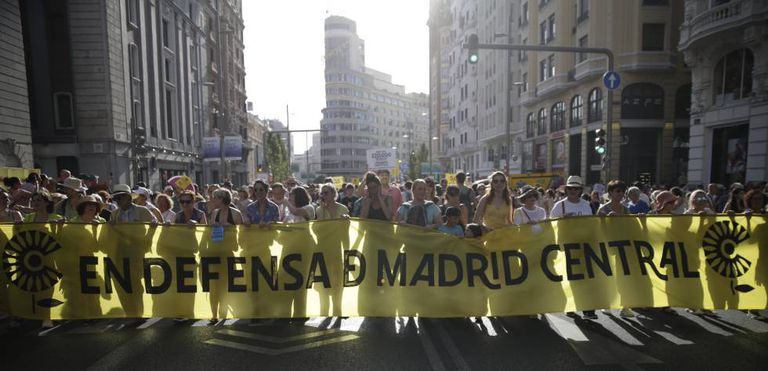 The protest on June 29 against the suspension of Madrid Central.