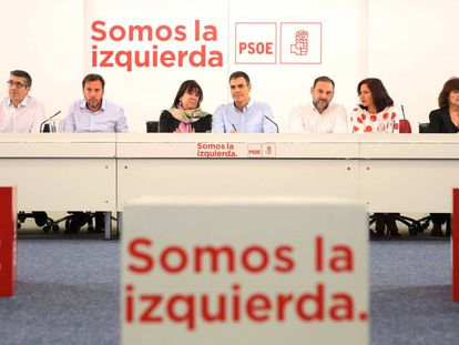 The Socialist Party standing committee, pictured on Monday.