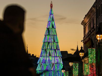 Christmas lights in downtown Madrid on Wednesday.