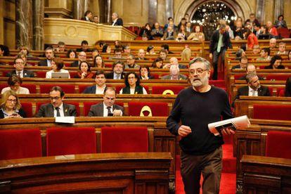CUP deputy Carles Riera inside the Catalan parliament.