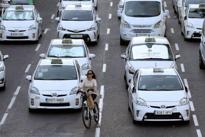 A taxi strike in Madrid last year to protest the proliferation of ride-hailing services.