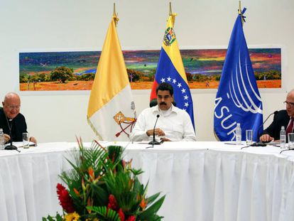 President Nicolás Maduro at Sunday's talks.