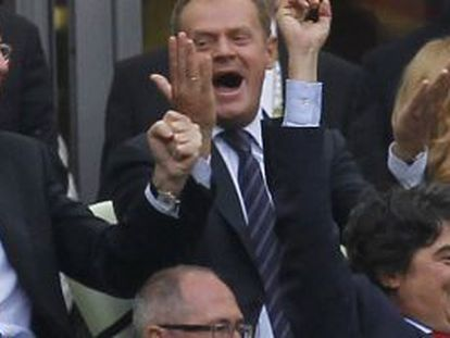Prime Minister Mariano Rajoy (top left) celebrates a goal by Spain during the 2012 European Championships.