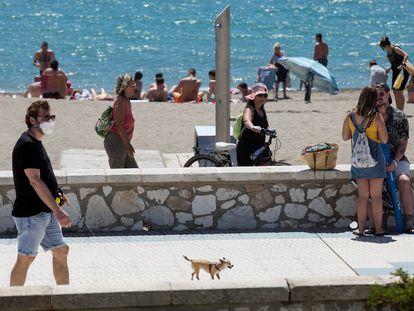 Beachgoers in Málaga, southern Spain on Sunday.