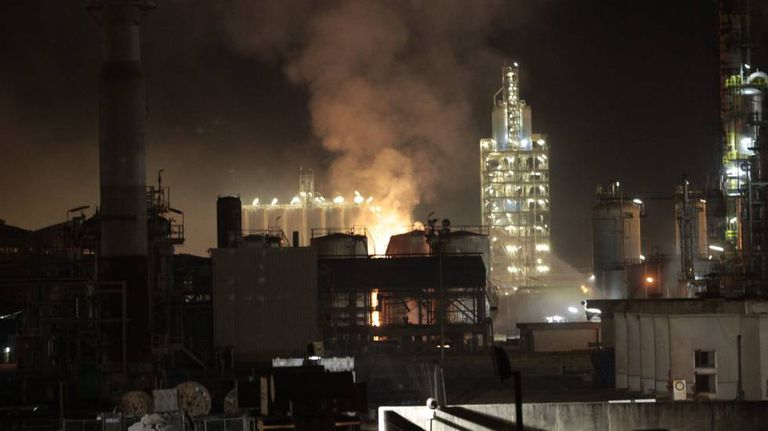 Fire at the chemical plant in Tarragona.
