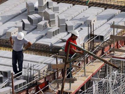 Construction workers in Bilbao.