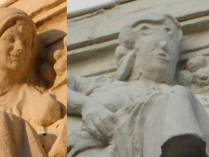The statue before (l) and after its botched restoration.