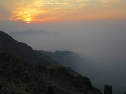 Sunrise from Mohare at 10,826ft, with peaks of 26,545ft and 26,794ft lurking in the mist.