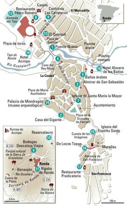 A streetplan of Ronda.