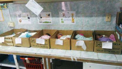 Newborns in cardboard boxes in Venezuela.