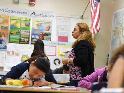 A class in Spanish, in a file photo taken in Los Angeles in 2019.
