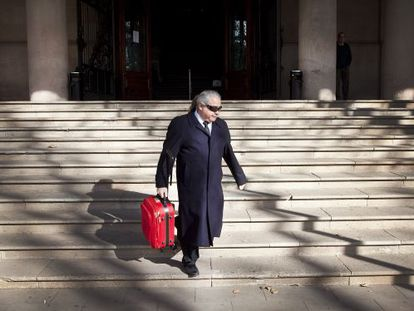 Andorran businessman Fidel Pallerols leaves court in Barcelona.
