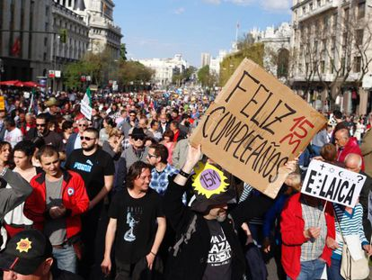 Sunday's commemorations of the 15-M in Madrid.