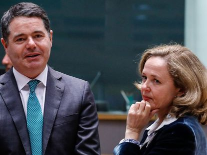 Paschal Donohoe, Ireland's finance minister, and Nadia Calviño, Spain's economy minister in Brussels in November 2018.