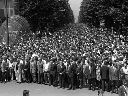 A street protest on July 12, 1997 demanding the release of kidnapped councilor Miguel Ángel Blanco, who was executed by ETA the next day.