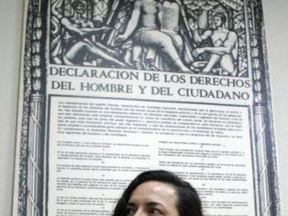 Almudena Bernabéu, at a press conference in 2008.