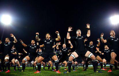 The 'All Blacks' perform the Haka, a Maori dance of intimidation.