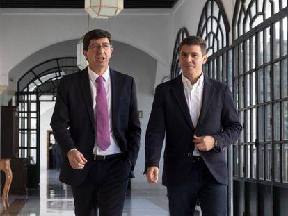 Ciudadanos representatives in Andalusia Juan Marín (l) and Sergio Romero.