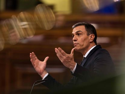 Spain's Prime Minister Pedro Sanchez during today's session in Congress.