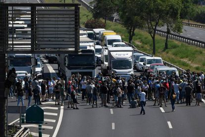 Nissan workers cut off the B-10 highway in Barcelona on Thursday.