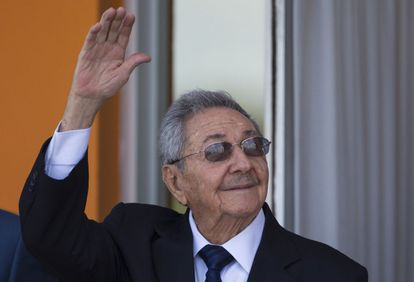 Cuban President Raul Castro waves goodbye towards the plane carrying Russian Orthodox Patriarch Kirril on Sunday.