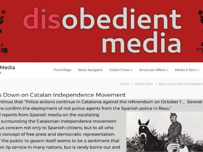 One of the news stories about the Catalan crisis, illustrated with a picture of Franco.