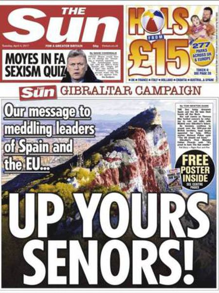 The front page of the pro-Brexit UK newspaper 'The Sun' on April 4th.