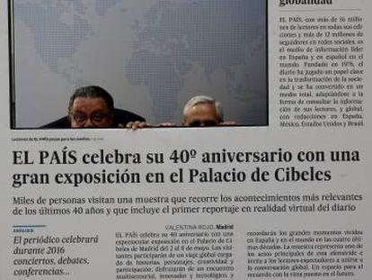 Part of the EL PAIS 40th anniversary exhibition at Madrid's Cibeles Palace.
