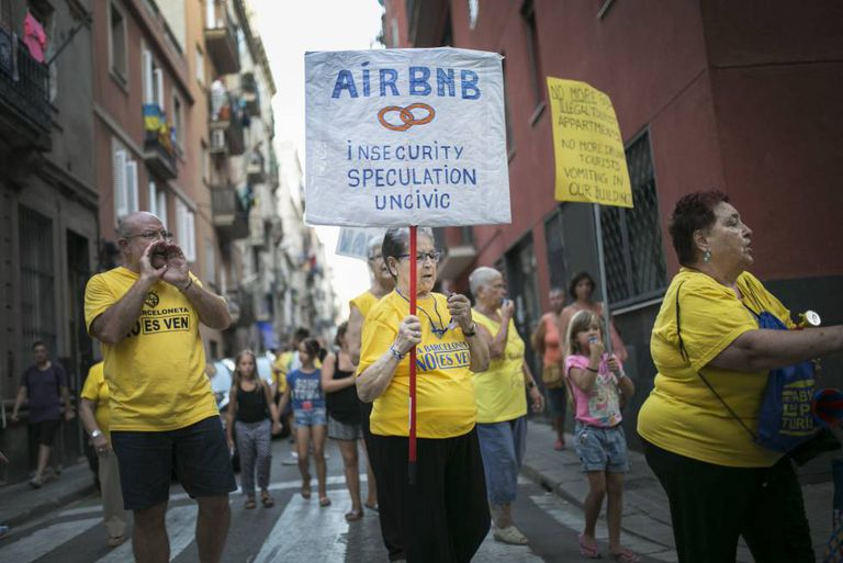 A protest against Airbnb in the Barceloneta suburb of Barcelona.