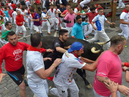 Runners at the the seventh bullrun of the San Fermin festival on Friday.