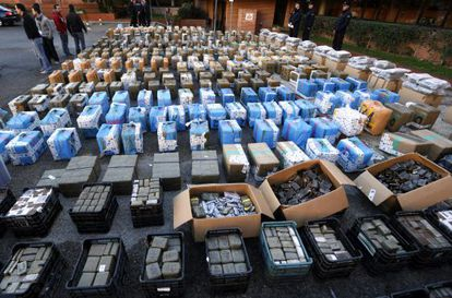 Drugs confiscated in Wednesday's raid against a hashish-smuggling ring in Toledo province.