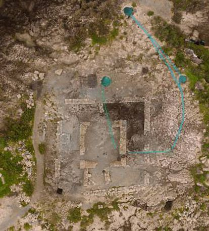 Aerial view of the Punic temple with the three circular tanks.