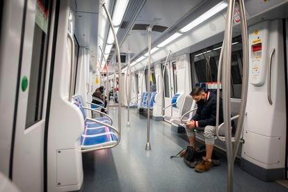A near-empty subway car in Barcelona in December 2020.