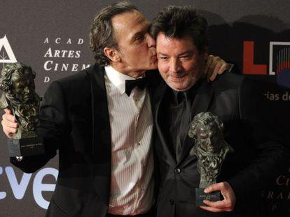 Spanish actor Jose Coronado (l) and director Enrique Urbizu.