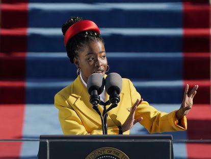 Amanda Gorman reciting her poem at Joe Biden's inauguration on January 20.