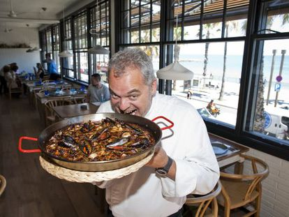 Chef Xavier Pellicer with one of his dishes at the Barraca restaurant in Barcelona.
