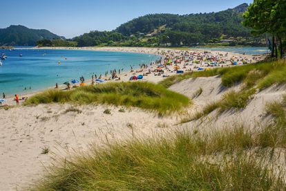 """In 2007 the British newspaper 'The Guardian' claimed that Rodas was the best beach in the world. Now, readers of 'El Viajero' have ranked it as Spain's second prettiest. Everything about this sand strip located in the Cíes islands, in the northwestern region of Galicia, reminds visitors of the Caribbean – except for the freezing water, of course. Rodas has white sand and crystal-clear waters, it flies a blue flag and emanates a sense of well-being that comes from sitting at the opening of the Vigo estuary, with the Atlantic on all sides. It is best for visitors not to pile up near the wharf where the boats dock, and instead spread out across the sandy strip. Down in the back, where the pine trees' roots are exposed to the elements, it is possible to walk to the lagoon, although the best panoramic views on this isthmus that joins two islands are to be found on the road to the lighthouse, in the elevated spot known as Campana. In order to avoid saturation, visitors must first obtain a permit from the regional government before purchasing a boat ticket. Applications can be made <a href=""""https://autorizacionillasatlanticas.xunta.gal/illasr/inicio?lang=en"""">here</a>."""