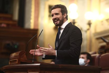 Popular Party president Pablo Casado speaking in Congress on Wednesday.