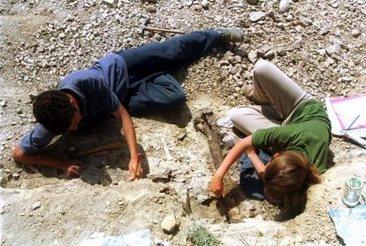 Paleontologists working at the Basturs site.