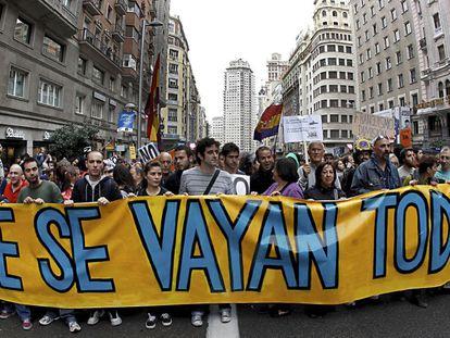 A September 2011 march on Madrid's Gran Vía.