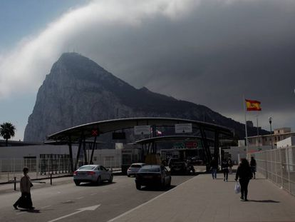 The Spain-Gibraltar border at La Línea de la Concepción.