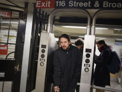 Podemos leader Pablo Iglesias in New York on Monday.