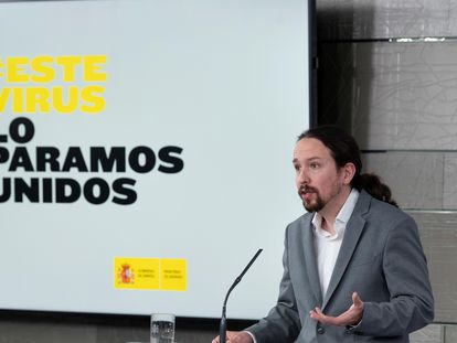 Deputy PM Pablo Iglesias at the news conference on Tuesday.
