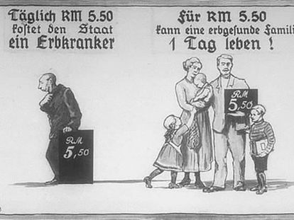 Nazi propaganda comparing the cost of an ill person with the cost of a healthy family.