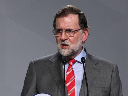 Rajoy addresses reporters on Monday in Madrid.