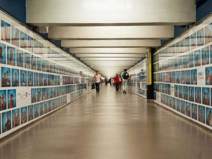 A photographic mural for a Barcelona Metro station by the Wallpeople collective.