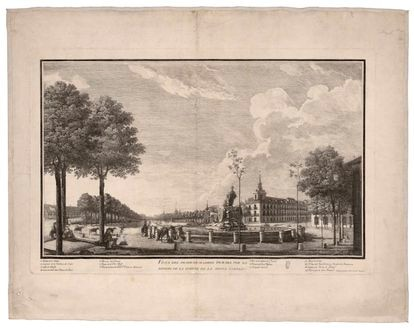 Etching of Paseo del Prado from Cibeles fountain, by Isidro González Velázquez (1788).