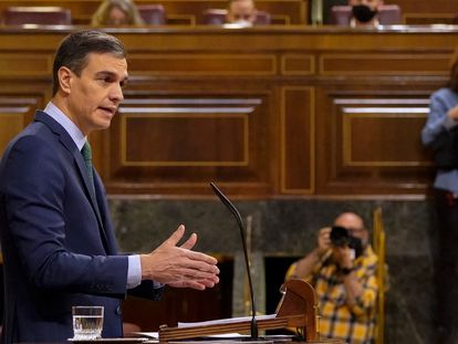 Prime Minister Pedro Sánchez in Congress today.